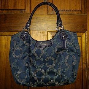 Coach Ashley Shoulder Bag Tote Handbag Blue Dotted